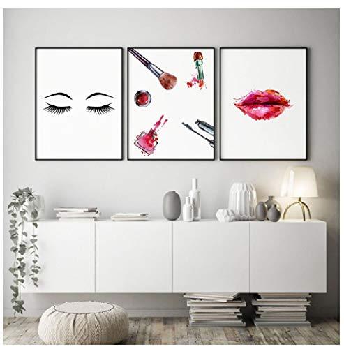 Cqzk Wandkunst Leinwand Gemälde Make-Up Wimpern Nordic Fashion Lippenstift Bilder Drucke Wohnkultur Poster Für Wohnzimmer Modulare 30x42 cmx3 No Fram