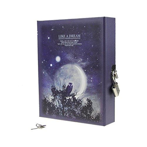 Carnet Secret cuaderno de candado diario luna, diseño de escritura dibujo con protectora de cerradura y Block con candado de llave en cartulina bloque Note regalo metálicas para recuerdo y Memoire