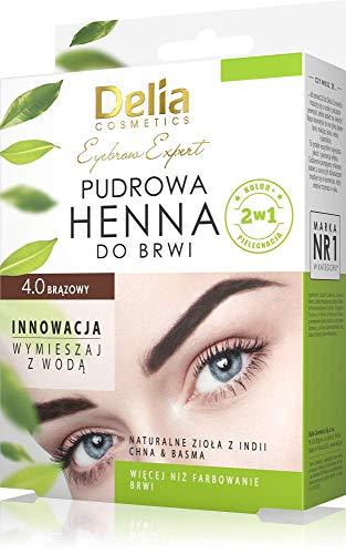 DELIA Cosmetics Henna per sopracciglia in polvere, henne per ciglia, un pacco,colore 4.0 marrone, il pezo 4g, prodotto per le donne, make up sopracciglia con il marrone