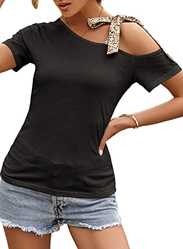 Donna Freddo Spalla Topi Casuale Obique Corto Sleeeve Camicie Solido Nodo Camicia Nero S