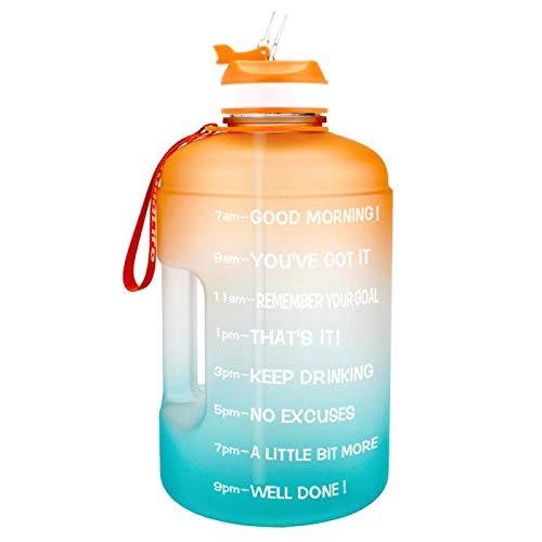 3.78L 2.2L 1.3L 128oz Botella de Agua de galón con Pajita Botellas de plástico Transparente para Beber Jarra para Herramientas Gym Copa Deportiva sin BPA (Naranja-A-Verde)