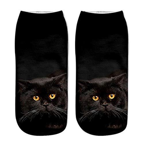MARKOO Calcetines De Algodón De Animales Bonitos para Mujer Kawaii Gato Animal Harajuku Verano Calcetines Cortos Zapatillas Mujeres Casual Suave Divertido Barco Calcetines 2019,1