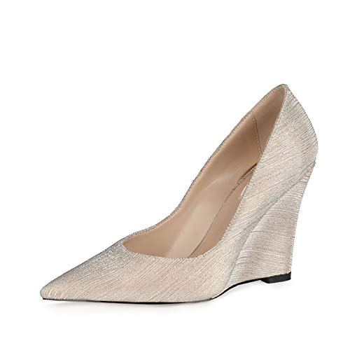 RHSMY Zapatos de tacón alto para mujer, sexy, puntiagudos, de 10 cm, con tacón de pendiente Asakuchi, para primavera/verano (deslizable) (34 UE, dorado)