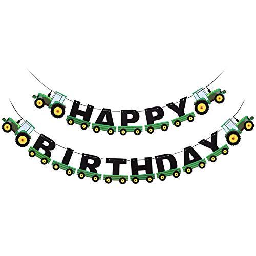 BESTOYARD Grüner Traktor Happy Birthday Banner Traktor Bunting Banner Kinder Geburtstag Traktor Thema Dekorationen für Geburtstag Baby Shower Party Supplies