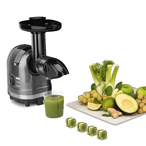 H.Koenig Entsafter für Obst und Gemüse, horizontal, BPA-frei, HSX16, kompakt, 1,1 l, Vitamin+, leistungsstark, 150 W, sanfter Druck, langsame Geschwindigkeit, elegantes Design, einfache Reinigung