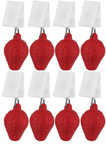 My-goodbuy24 Tischdeckenbeschwerer mit Klammer - 8er Set Erdbeere - Tischdeckenhalter Garten Tischdeckenklammern Tischtuch Clips - Kunststoff
