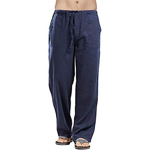 Vanvene - Pantaloni da uomo in lino, stile casual, vestibilità larga, elastico in vita con coulisse, pantaloni a gamba dritta per yoga, spiaggia Blu 3XL