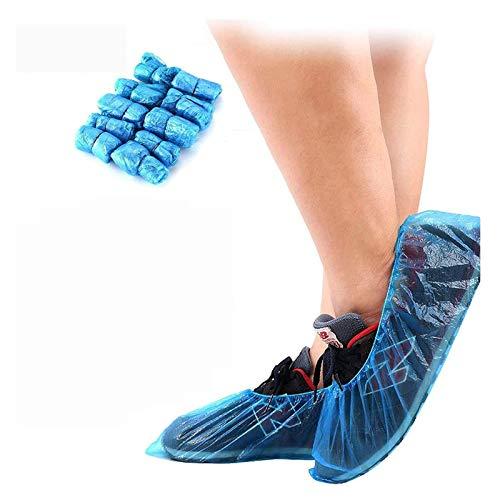 MorNon 100Pcs Cubierta del Zapato Funda Impermeable para Zapatos Cubrezapatos Funda de Plástico para el Hogar la Oficina y la Recepción Azul