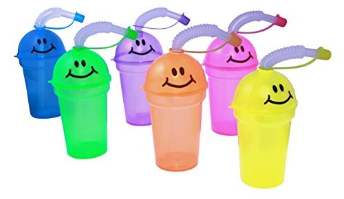 Smiley Face Mini Sipper Cups With Lids And Straws - 12 Pack