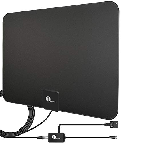 [Upgraded 2019] 1byone Digital Amplified Indoor HD TV Antenna Up to 80 Miles Range, Amplifier Signal Booster Support 4K 1080P UHF VHF Freeview HDTV Channels with Coax Cable