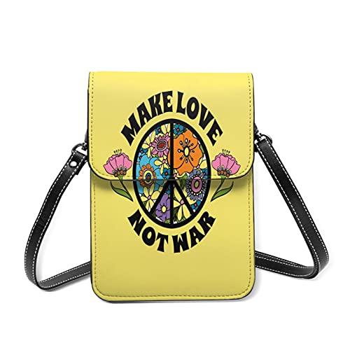 スマホポーチ レディースショルダーバッグ 花とピースサイン、ヒッピーのシンボルを背景に、戦争ではなく恋をする 財布斜めかけバッグ 多機能 小物入れ カワイイ キフト 13.5CMX19CM