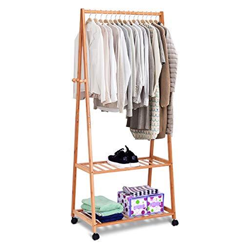 COSTWAY Kleiderständer Bambus, Kleiderstange auf Rollen, Garderobenständer mit 2 Ablagen und 4 Haken