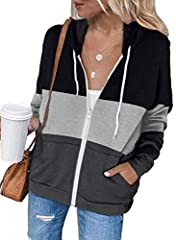 Our color block sweatshirts have classic zip up and drawstring hoodie design, regular fit and long sleeved, casual style with hood and pockets.Two side pockets helps you to put in your hands and store accessories, suitable for daily life. The zip up ...