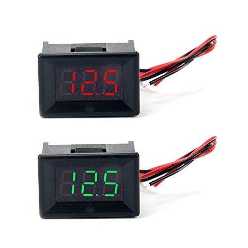 """Jolicobo 2 STÜCKE 0,36""""LED DC Spannungsmesser Panel 2,4-30 V 2 Draht mit Kopf Gehäuse Digital Voltmeter Elektrische Anzeige Genauigkeit Volt Monitor Tester, Rot, Grün Display"""