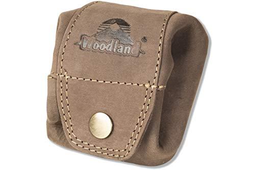 Woodland - miini-tasca per le monete o le piccole parti in morbido, pelle di bufalo trattata in marrone scuro/Taupe