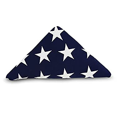 Anley [Memorial Flag American US Flag 5x9.5 Foot Heavy Duty Cotton For Veteran - Embroidered Stars and Sewn Stripes - 4 Rows of Lock Stitching - USA Burial Casket Flags with Brass Grommets 5 X 9.5 Ft