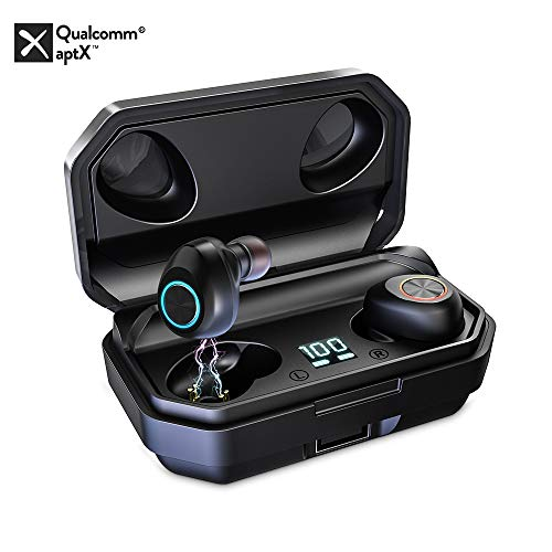 Auriculares Bluetooth 5.0, 1Mii Auriculares Inalámbricos TWS 150H Larga Duración con Caja de Carga, Audífonos In-Ear Bluetooth Estéreo con Micrófono Resistente al Agua IPX5 para iPhone/Android, Negro