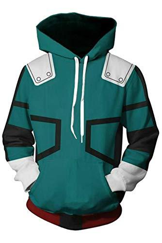 NoveltyBoy Boku No Hero Academia My Hero Academia Izuku Midoriya Hoodies Sweatshirt Cosplay Costume Battle Suit Jacket (Large)