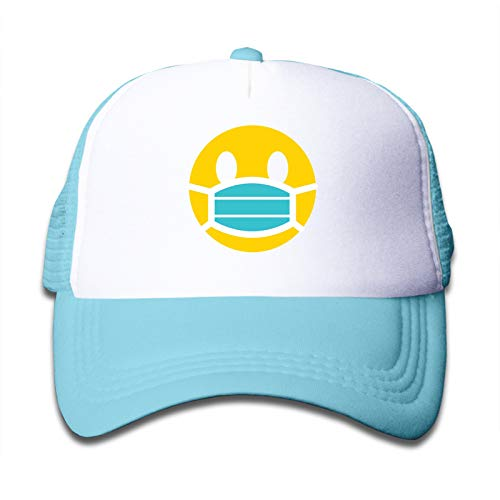 Lightweight and Durable Smiling Face Surgical Mask Child Baseball Caps Adjustable Sun Hat for Boys Girls Sky Blue