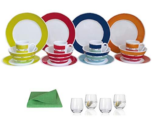 Moritz - Vajilla de melamina para 4 personas, diseño de colores + 4 vasos de agua Tiamo + 1 paño de microfibra verde para camping