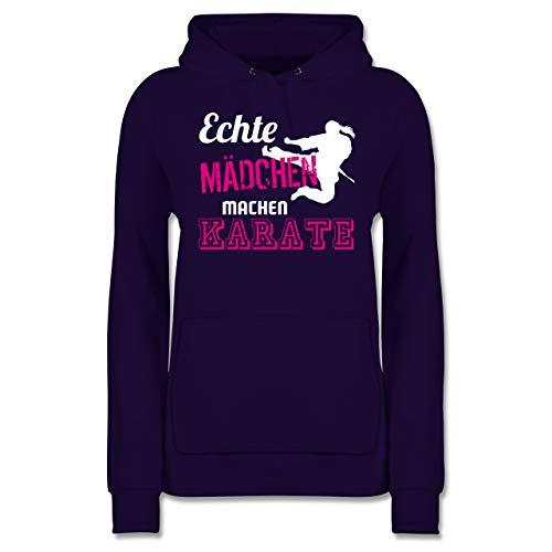 Kampfsport - Echte Mädchen Machen Karate - XS - Lila - Karate Hoodi mädchen - JH001F - Damen Hoodie und Kapuzenpullover für Frauen