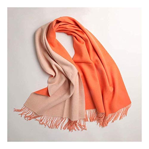 Frauen Schal Klassisch Doppelseitig Zwei Farbstreifen Einfarbig Quaste Schal Winter Warme Schals Große Tragetücher (Farbe: Orange)