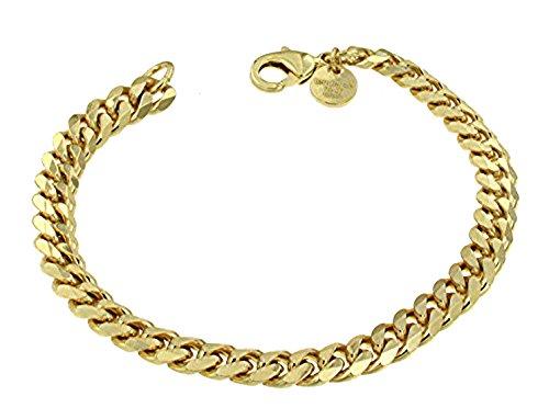 Panzerarmband Gold Doublé 7 mm 21 cm Armband Herrenarmband Goldarmband Schmuck Geschenk ab Fabrik Italien tendenze GGYs7-21v