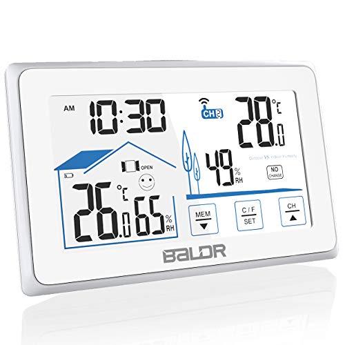 Konsen Wetterstation funk mit Außensensor, Thermometer-Hygrometer innen/ausen Raumthermometer Außentemperatur Feuchtigkeit mit Hintergrundbeleuchtung, Lüftungsempfehlung und Uhrzeit Anzeige, Weiß