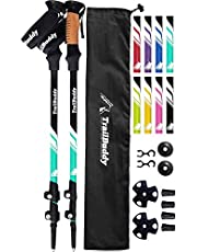 TrailBuddy Hiking Poles - Adjustable Trekking Sticks - Flip-Lock Walking Pole 2 Pck - Strong, Lightweight Aluminum Collapsible Baton w/ Cork Grip & Padded Strap