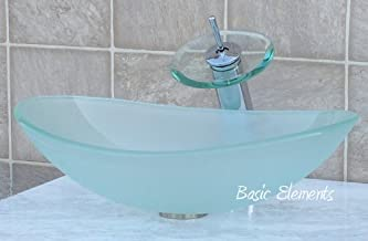 Bathroom frosted boat shape glass vessel sink combo B12FC4 (included Chrome waterfall faucet /chrome pop up dran and ring)