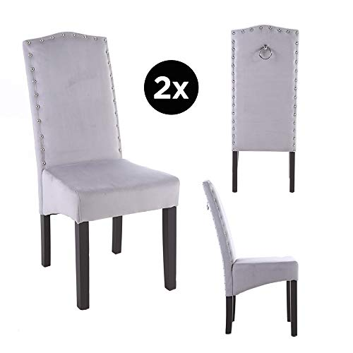 PS Global 2er-Set QUALITY Knockerback Velvet Dining Chairs - Einfache Montage Esszimmer, Küche, Chrom Knockerback Chairs 2 (Hellgrau)