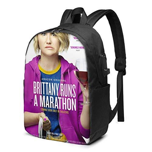 AOOEDM USB Backpack 17 in Jillian Bell in Bretagna corre una maratona Zaino USB Zaino per laptop da 17 pollici con fondo fisso Borsa da scuola grande per uomini e donne