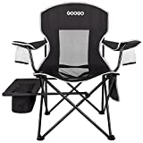 Googo Camping Chair Folding, Portable Lightweight Chair with Cooler, Cup Holder, Mesh Back Seat, Supports 300lbs, Collapsible Compact Chair with Carry Bag & Strap for Outdoor, Camp, Hiking, Picnic