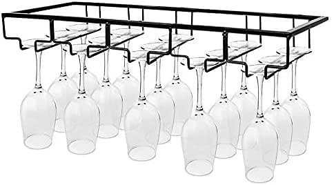 Iriisy Soporte para Copas de Vino Tinto, Casa Cocina Ajustable Vino Cristal Soporte,Soporte para Copas de Vino, Estante de Almacenamiento de Acero Inoxidable (5 Filas, Negro)