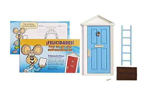 ? Ratoncito Pérez: Puerta Mágica Azul + Escalera + Felpudo + Llave + Postal de Felicitación + dibujo para anotar y pintar las fechas de los dientes caídos