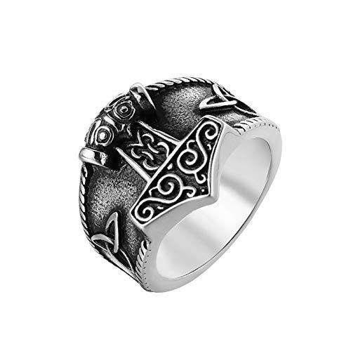 WHH&YZQ Anillos para hombre de acero inoxidable con diseño de martillo de Thor, diseño de nudo celta, 9