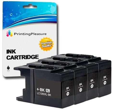 4 SCHWARZ Druckerpatronen für Brother MFC-J6510DW, MFC-J6710DW, MFC-J6910DW, MFC-J5910DW, MFC-J6710D | kompatibel zu Brother LC1280XL LC1280 LC1240