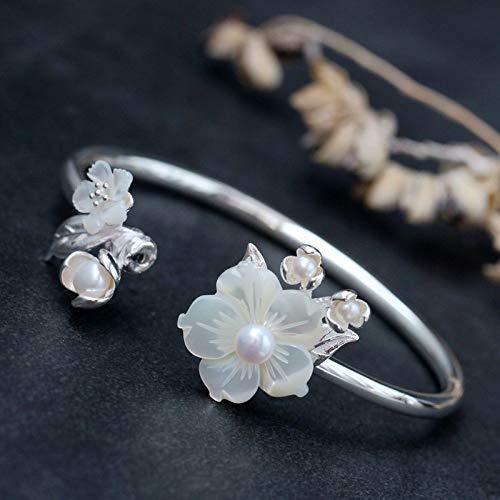 Angelazy armband voor dames, sterling zilver, 925 persoonlijkheid, modern, instelbaar, met ingelegde natuurlijke parel shell, bloemblaadjes, vorm, armband voor dames, vakantie, cadeau, wit