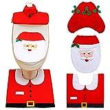 ZSWQ 3pcs Navidad Fundas para Asientos de Inodoro Santa Toilet Seat Cover Set Alfombra y Tejido Caja...