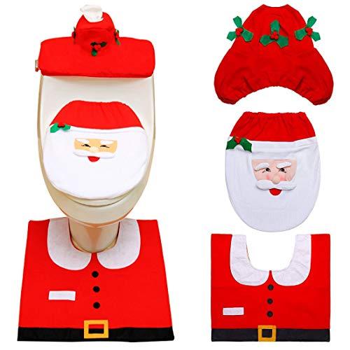 ZSWQ 3 PCS Natale Toilette Copriwater Decorazioni Babbo Coprivaso Coprivaso Set, Babbo Sedile WC Coperchio e Tappeto & Scatola del Tessuto di Copertura Insieme (Babbo Natale)
