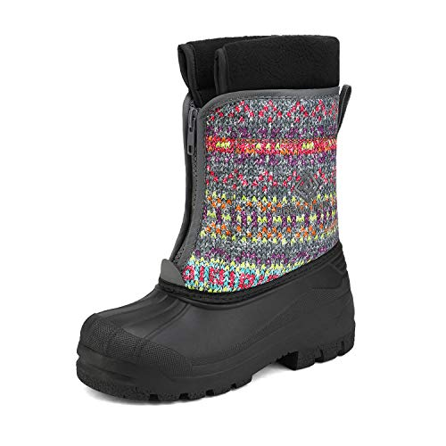 DREAM PAIRS Girls Cold Weather Insulated Waterproof Winter Snow Boots Grey Multi Size 4 Big Kid Kstar