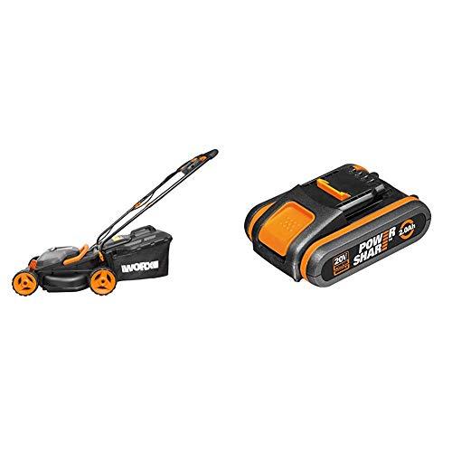 WORX WG779E.2 36V (40V MAX) Cordless 34cm Lawn Mower (Dual battery x2 20V Batteries) & WA3551.1 18V (20V MAX) 2.0Ah Battery Pack, 40 W, 20 V