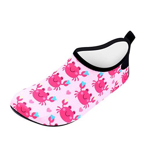 Julhold Zapatos de agua para niños pequeños, antideslizantes, para nadar descalzo, playa, calcetines acuáticos para niñas y niños, color Rosa, talla 25 EU