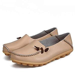 Mocasines Casuales para Mujer Clásicos Punta Redonda Mocasines Suaves para Madre Calzado De Conducción Cómoda Zapatos Planos Lisos Calzado Individual Resistente Al Caminar