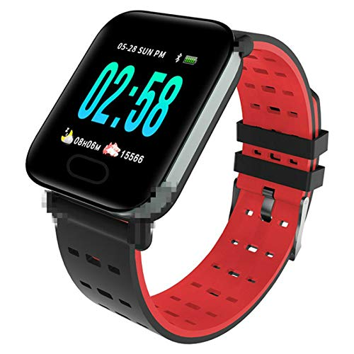 Toule - Smart bracelet heart rate blood pressure health monitoring exercise step calorie call information display smartwatch Red.