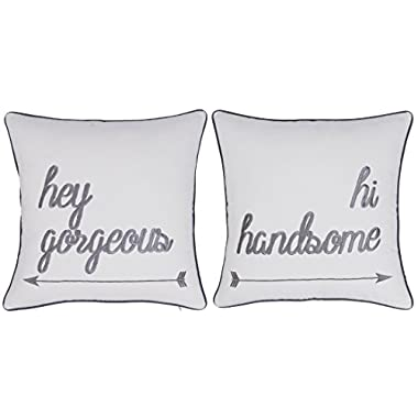 DecorHouzz Pillowcases Hi Handsome Good Morning Gorgeous Set of 2 Embroidered Pillow Cover Cushion Cover Throw Pillow Decorative Pillow Wedding Couple He and She Anniversary Gift 18 X18  (Offwhite)