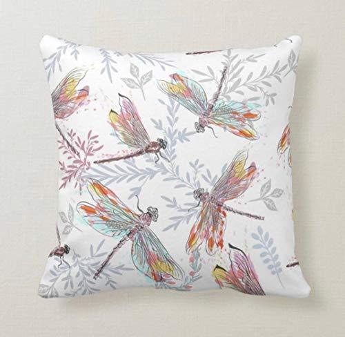 DKISEE Funda de almohada decorativa de 45,7 x 45,7 cm, cuadrada, diseño de libélulas, inspirada en el jardín, funda de cojín de lona para sofá, dormitorio, coche