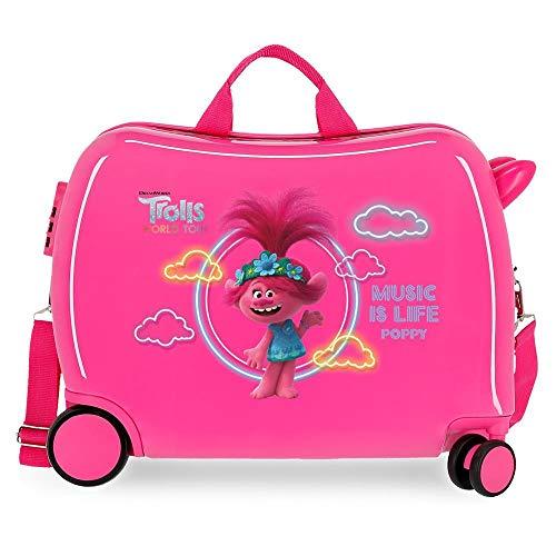 Trolls Music is Life Maleta Infantil Rosa 50x38x20 cms Rígida ABS Cierre combinación 34L 2,1Kgs 4 Ruedas Equipaje de Mano