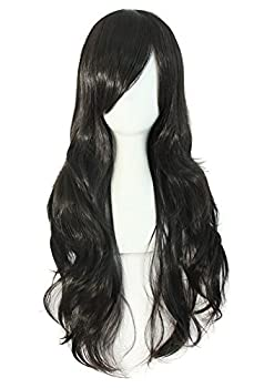 MapofBeauty 28  70cm Long Curly Hair Ends Costume Cosplay Wig  Black