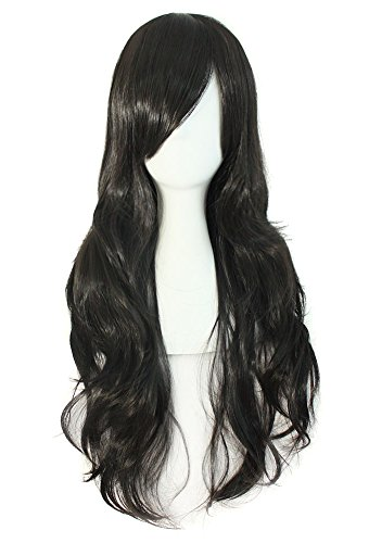 "MapofBeauty 28"" langes lockiges Haarspitzen Kostüm Cosplay Perücke (schwarz)"